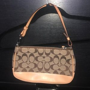 Coach tan and brown signature small purse